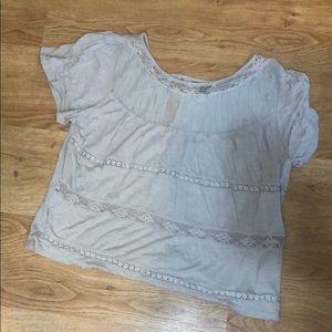 Like new AEO tan flowy blouse w/ lace & mesh sz XL